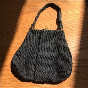 Vintage 1950 black beaded purse with clasp